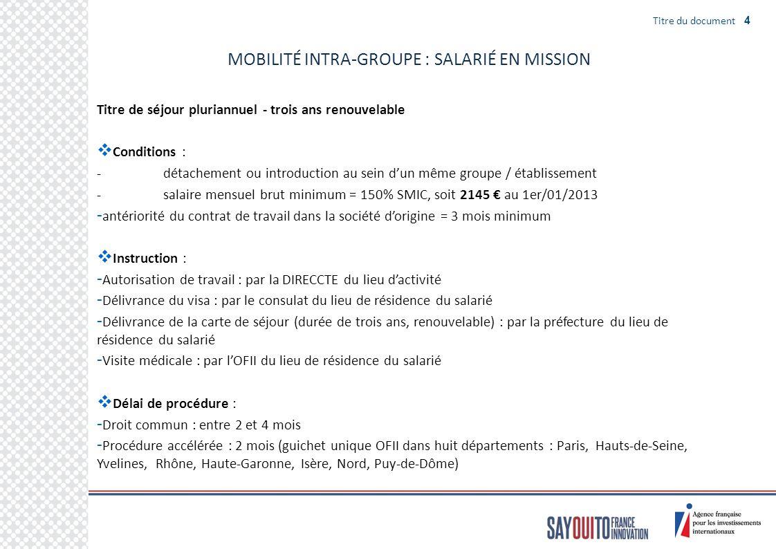 MOBILITÉ INTRA-GROUPE : SALARIÉ EN MISSION