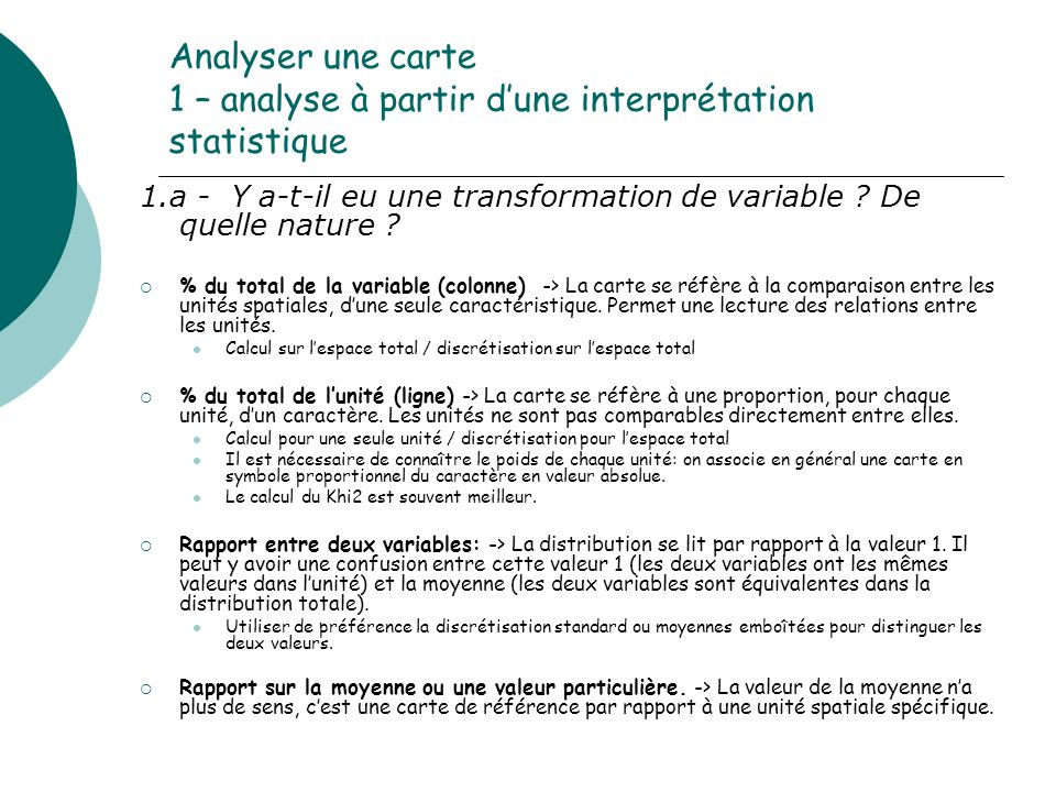 Analyser une carte 1 – analyse à partir d'une interprétation statistique