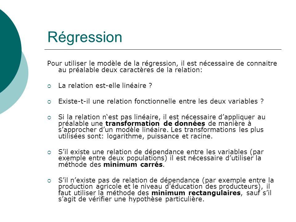 Régression Pour utiliser le modèle de la régression, il est nécessaire de connaitre au préalable deux caractères de la relation: