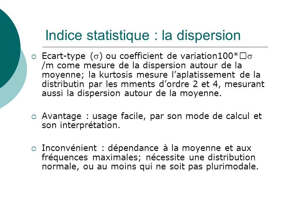 Indice statistique : la dispersion