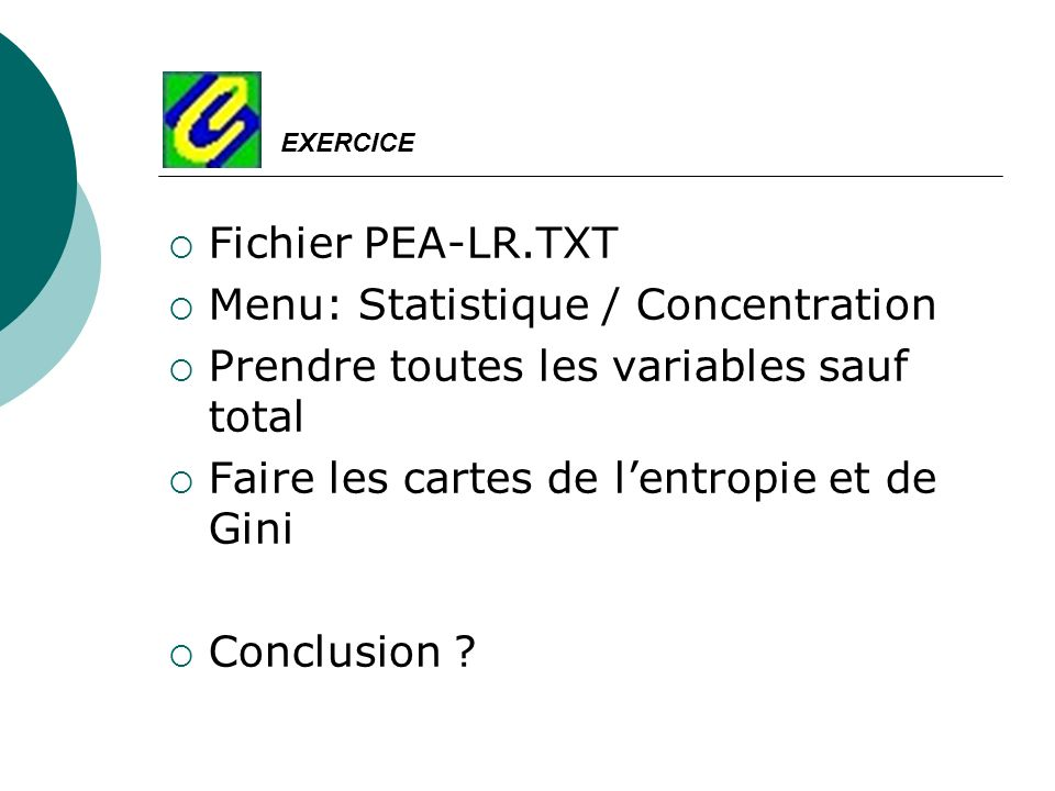 Menu: Statistique / Concentration