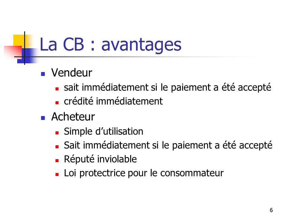 La CB : avantages Vendeur Acheteur