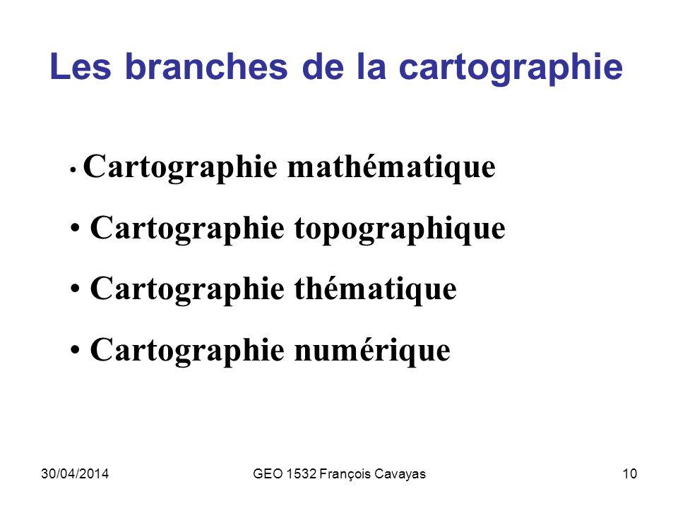 Les branches de la cartographie