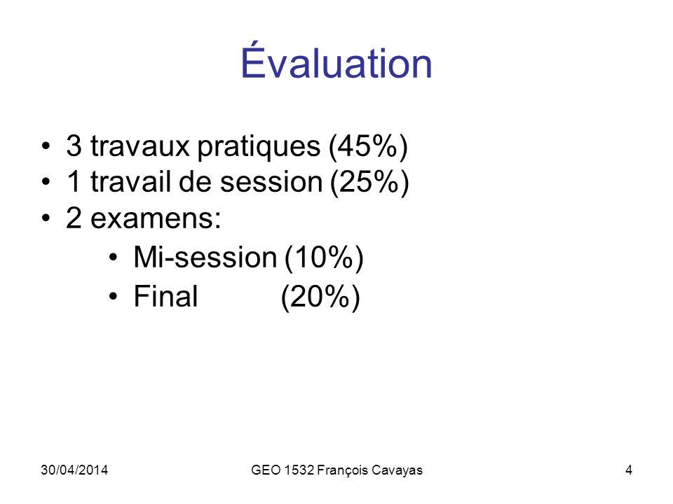 Évaluation 3 travaux pratiques (45%) 1 travail de session (25%)