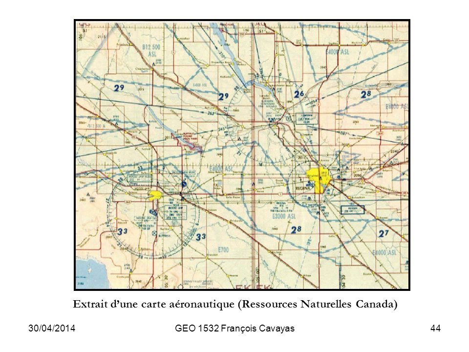 Extrait d'une carte aéronautique (Ressources Naturelles Canada)