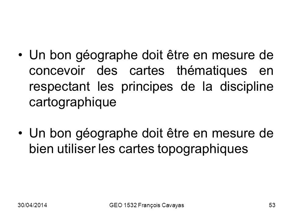 Un bon géographe doit être en mesure de concevoir des cartes thématiques en respectant les principes de la discipline cartographique