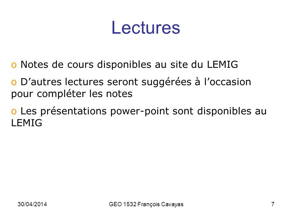 Lectures Notes de cours disponibles au site du LEMIG