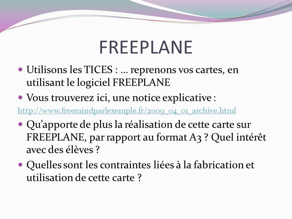 FREEPLANE Utilisons les TICES : … reprenons vos cartes, en utilisant le logiciel FREEPLANE. Vous trouverez ici, une notice explicative :