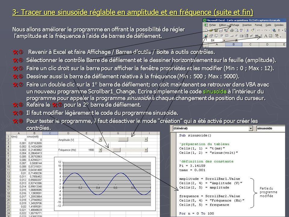 3- Tracer une sinusoïde réglable en amplitude et en fréquence (suite et fin)