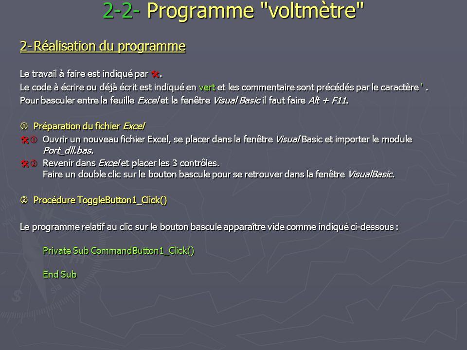 2-2- Programme voltmètre