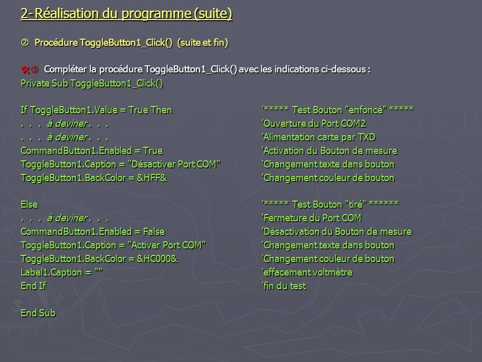 2- Réalisation du programme (suite)