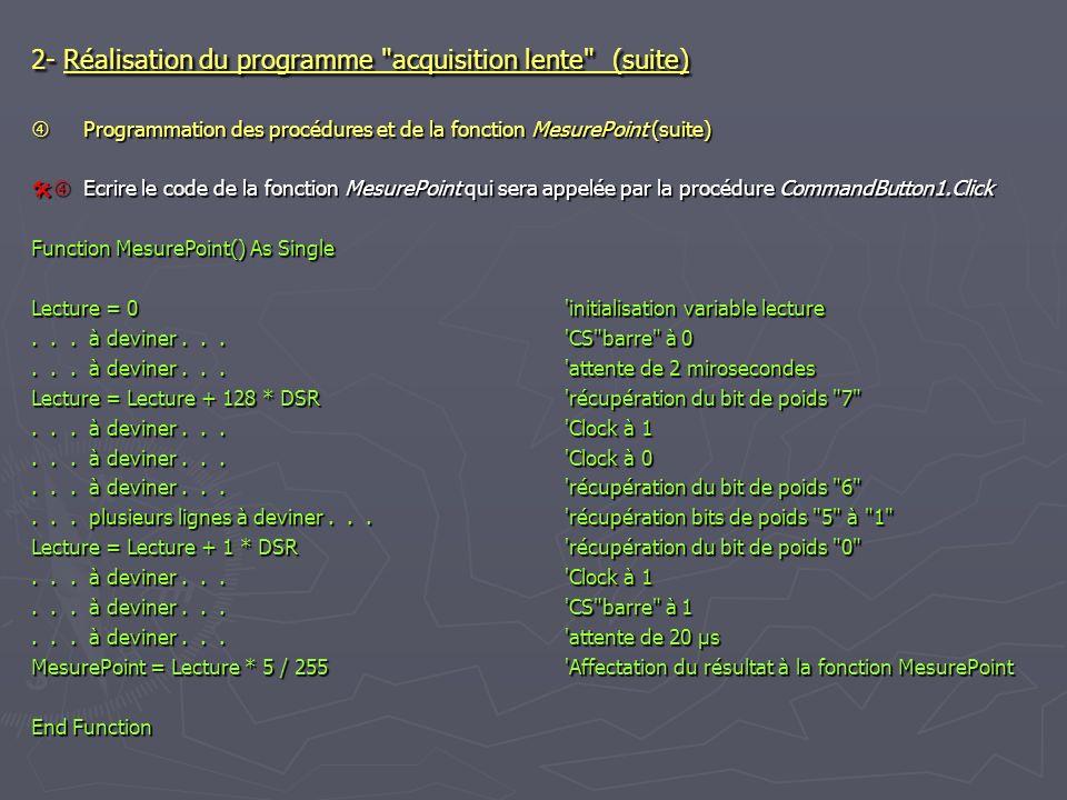 2- Réalisation du programme acquisition lente (suite)