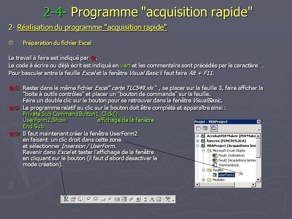 2-4- Programme acquisition rapide
