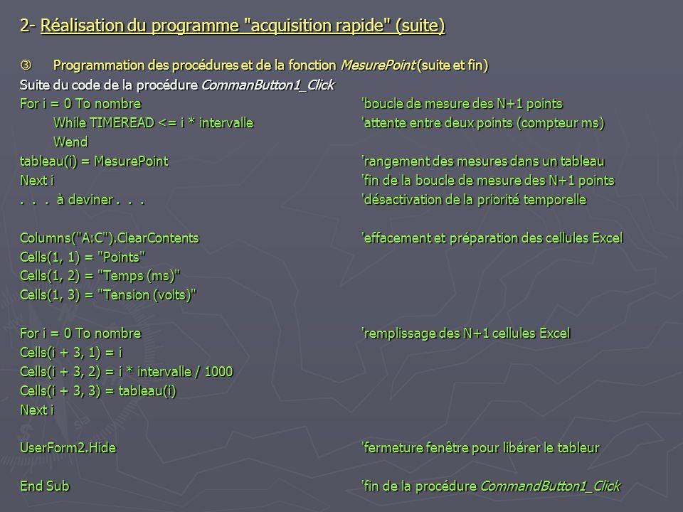 2- Réalisation du programme acquisition rapide (suite)
