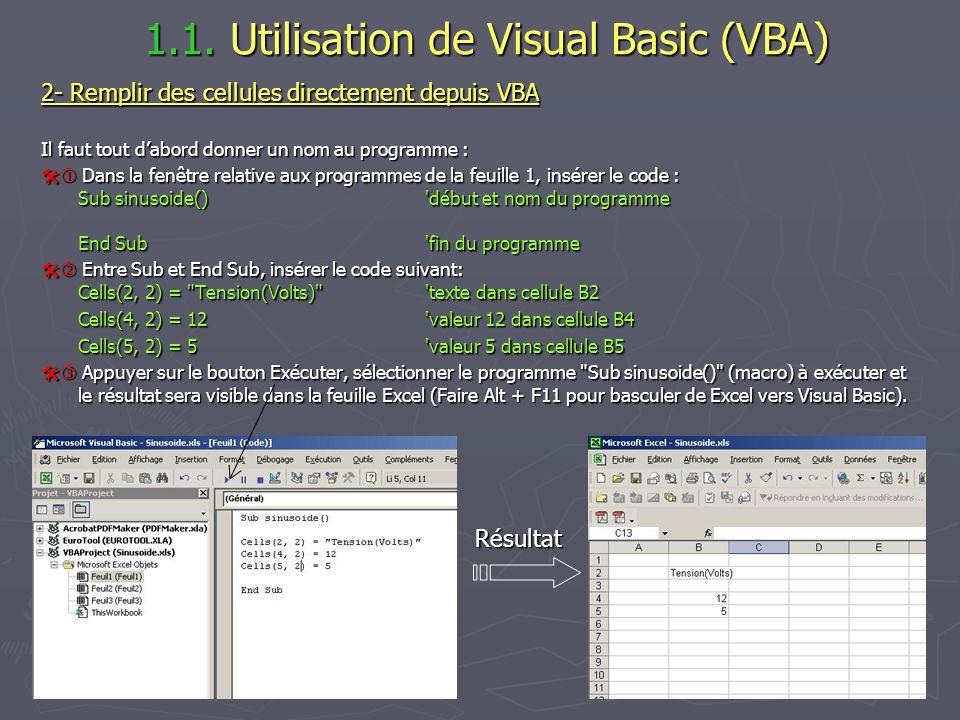 1.1. Utilisation de Visual Basic (VBA)