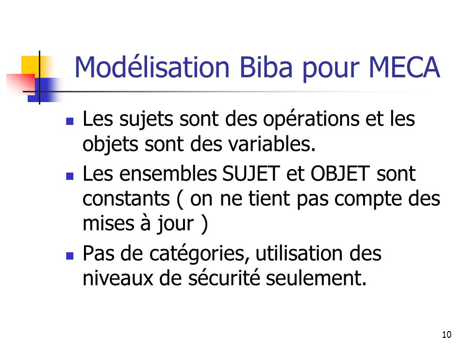 Modélisation Biba pour MECA