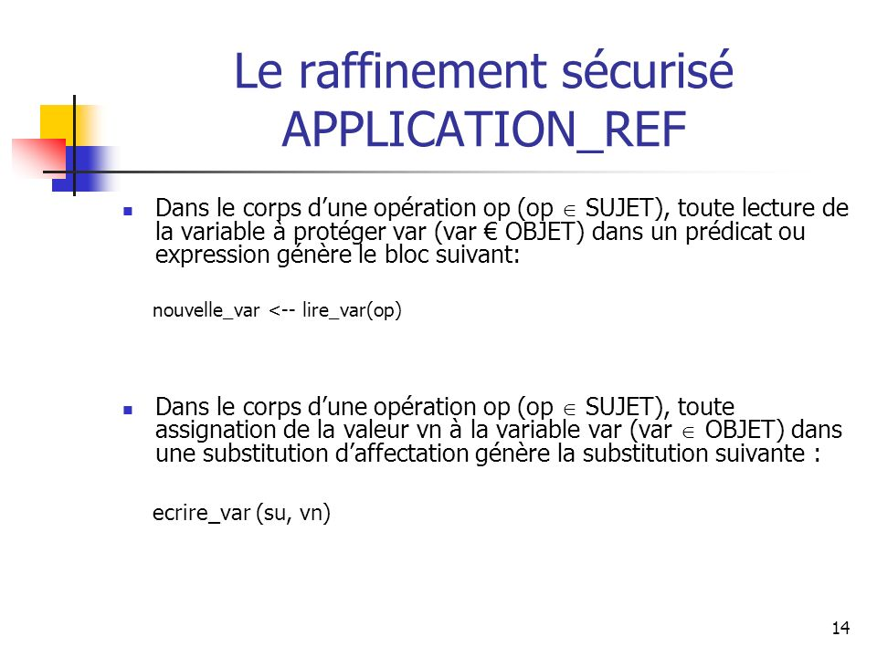 Le raffinement sécurisé APPLICATION_REF