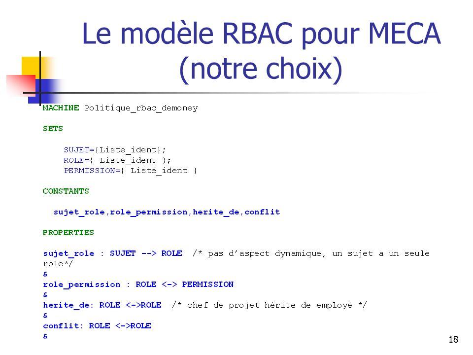 Le modèle RBAC pour MECA (notre choix)