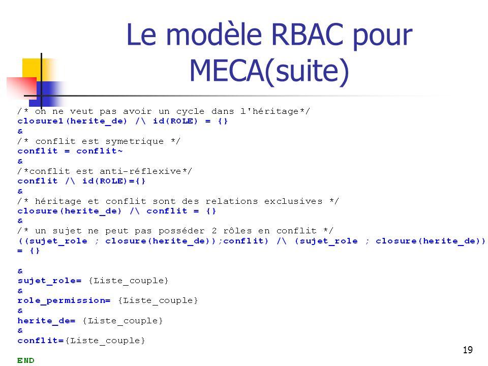 Le modèle RBAC pour MECA(suite)