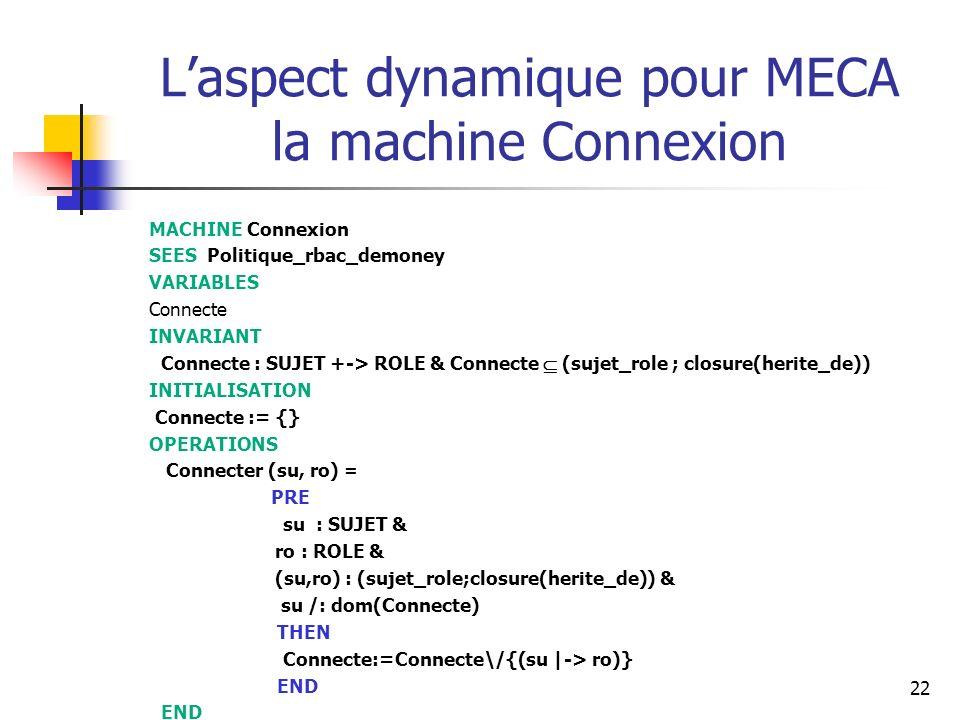 L'aspect dynamique pour MECA la machine Connexion