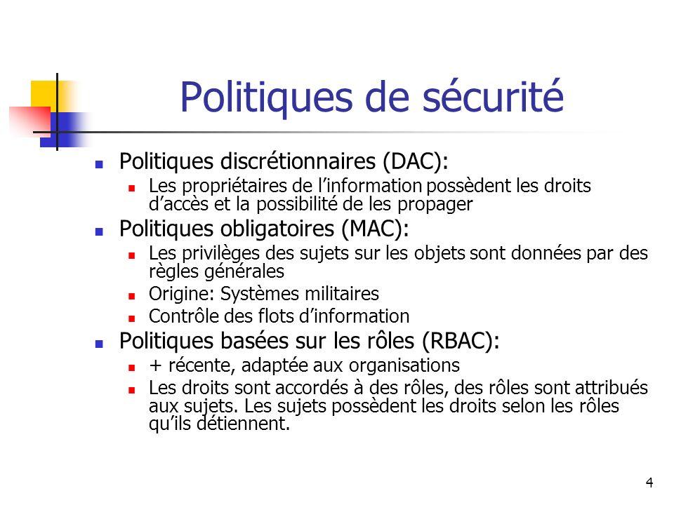 Politiques de sécurité