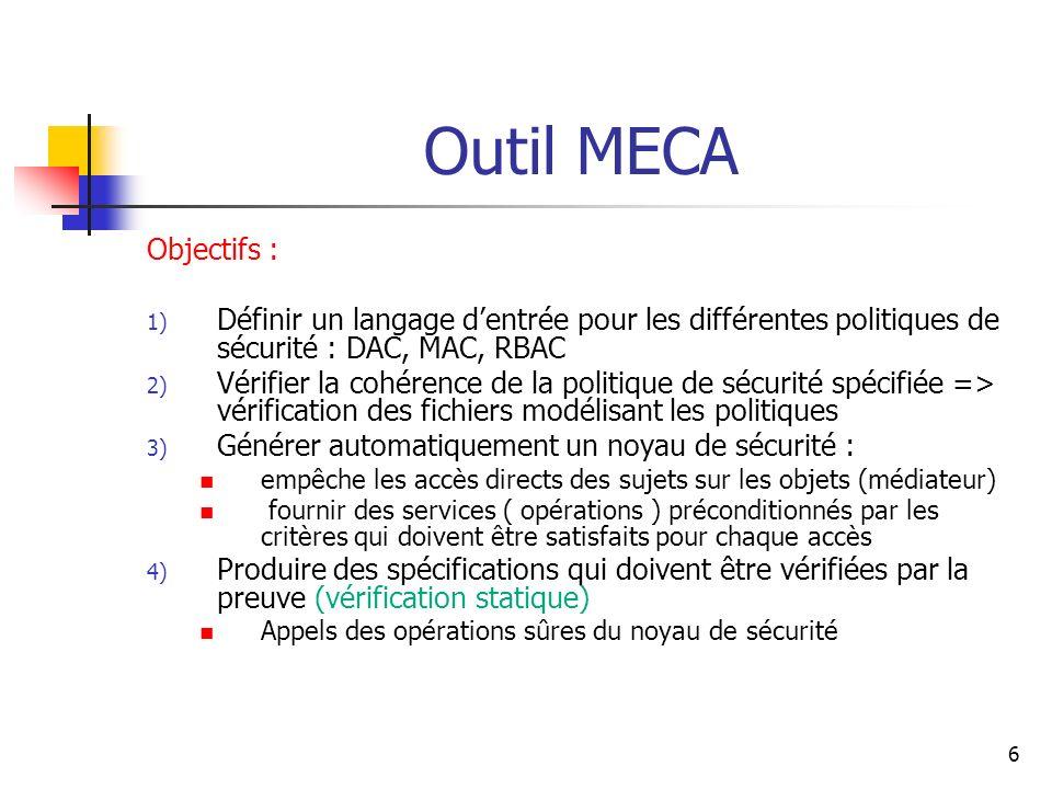 Outil MECA Objectifs : Définir un langage d'entrée pour les différentes politiques de sécurité : DAC, MAC, RBAC.