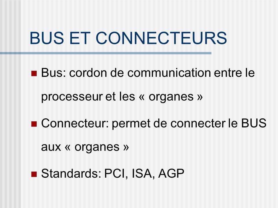 BUS ET CONNECTEURS Bus: cordon de communication entre le processeur et les « organes » Connecteur: permet de connecter le BUS aux « organes »