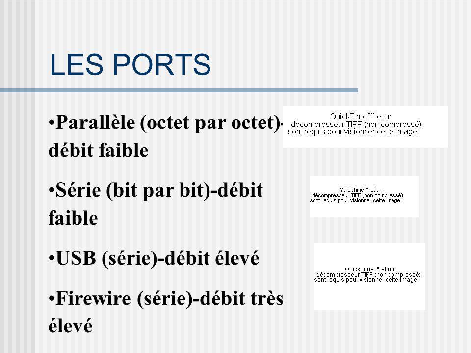 LES PORTS Parallèle (octet par octet)- débit faible