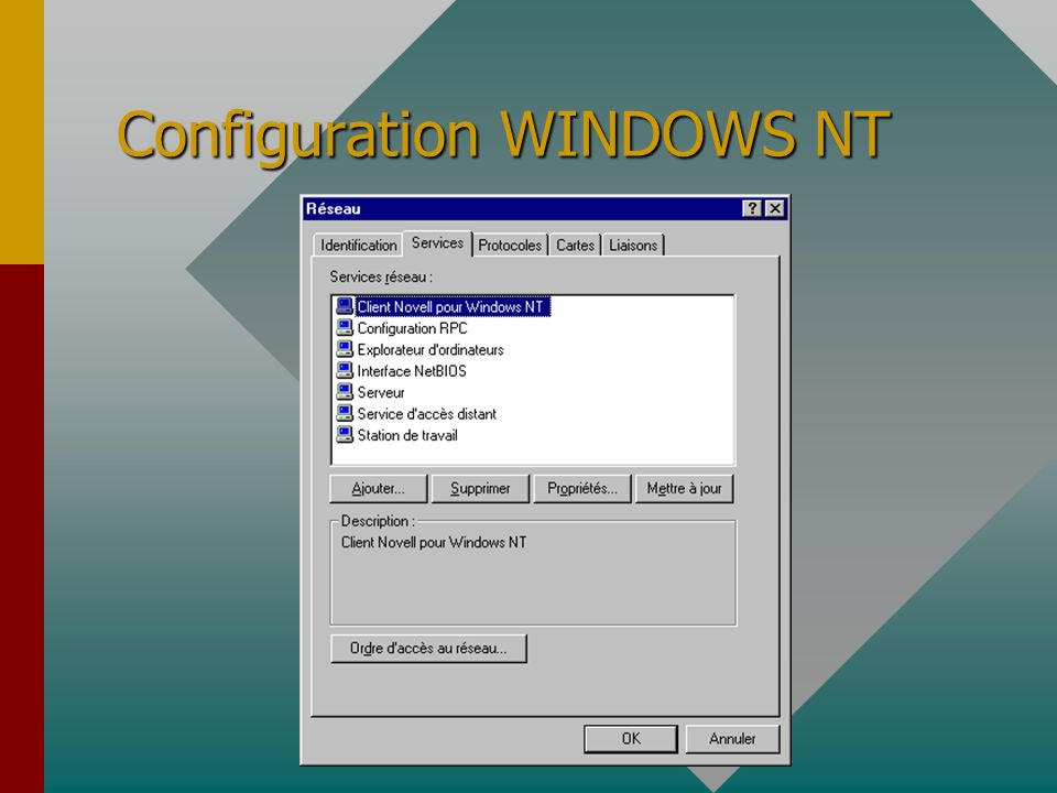 Configuration WINDOWS NT