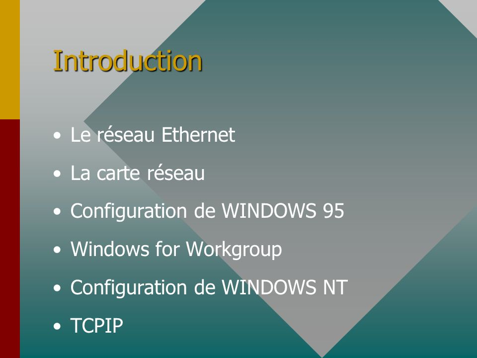 Introduction Le réseau Ethernet La carte réseau