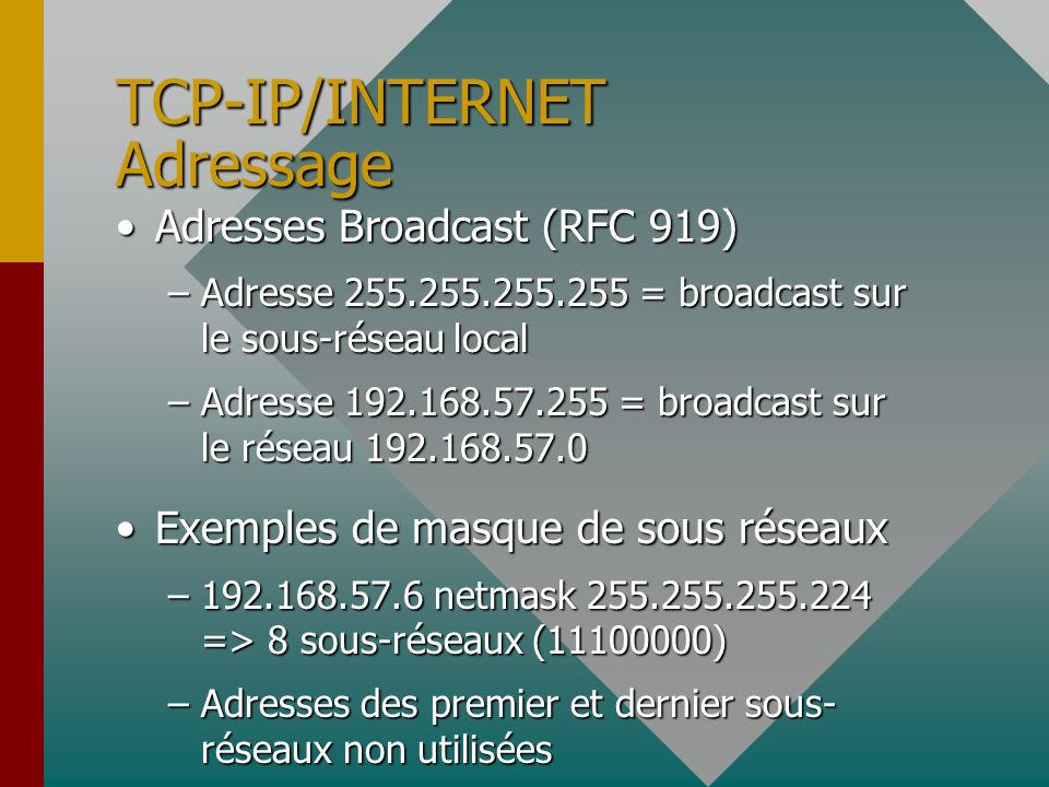 TCP-IP/INTERNET Adressage