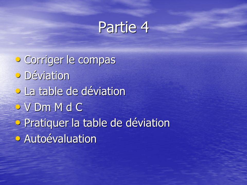 Partie 4 Corriger le compas Déviation La table de déviation V Dm M d C