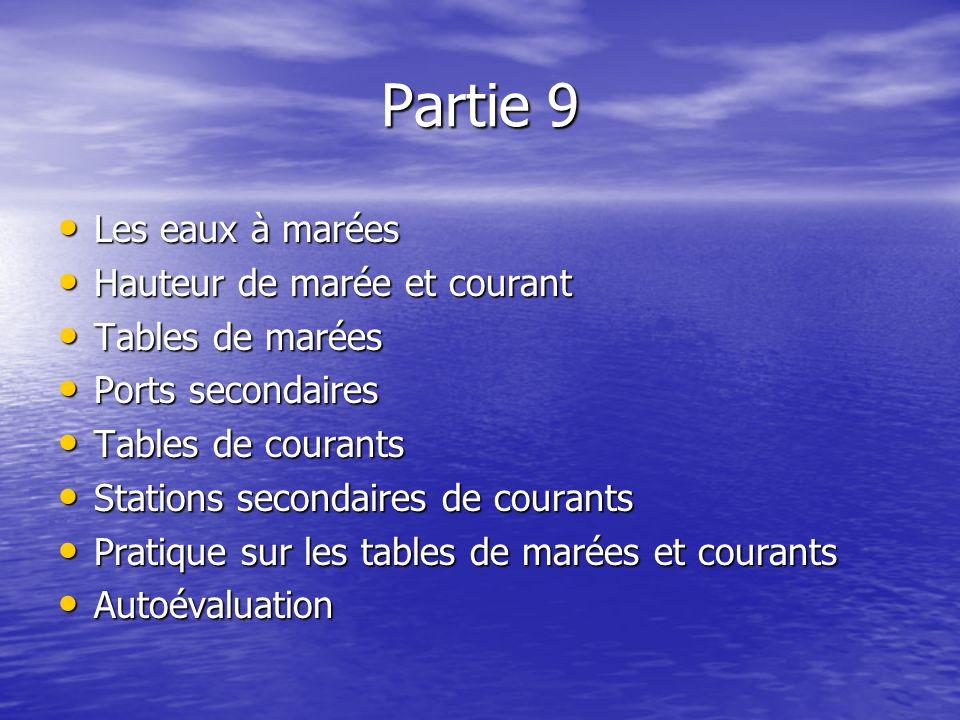 Partie 9 Les eaux à marées Hauteur de marée et courant