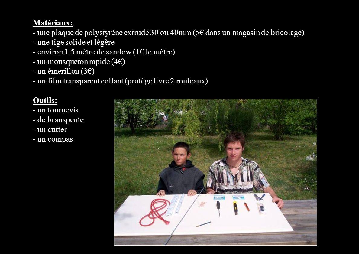 Matériaux: - une plaque de polystyrène extrudé 30 ou 40mm (5€ dans un magasin de bricolage) - une tige solide et légère - environ 1.5 mètre de sandow (1€ le mètre) - un mousqueton rapide (4€) - un émerillon (3€) - un film transparent collant (protège livre 2 rouleaux) Outils: - un tournevis - de la suspente - un cutter - un compas