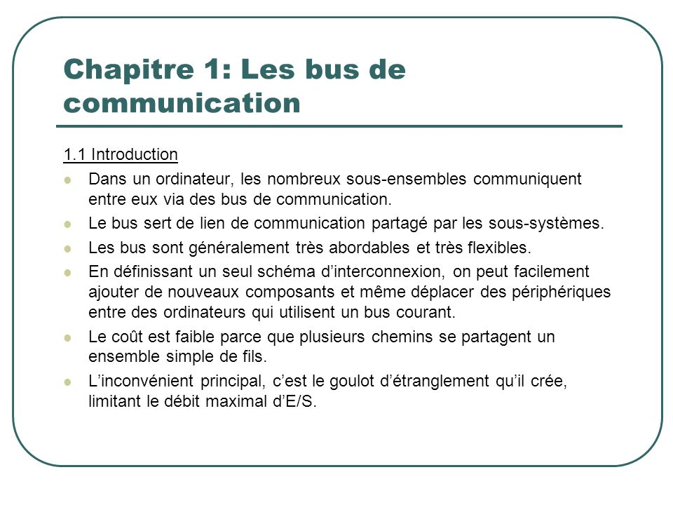Chapitre 1: Les bus de communication