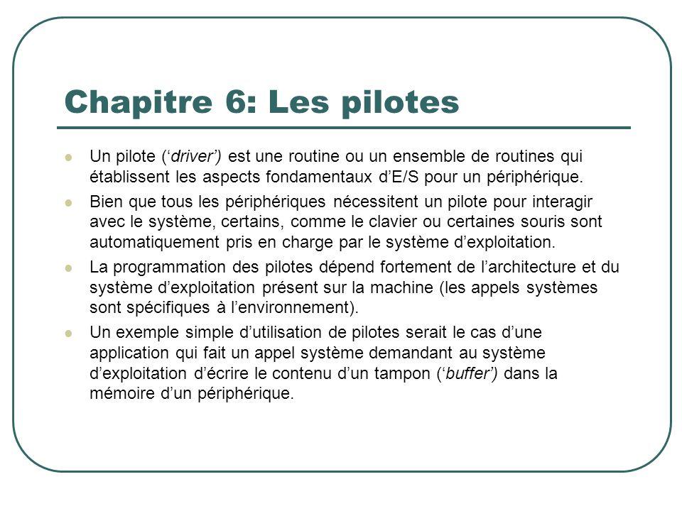 Chapitre 6: Les pilotes