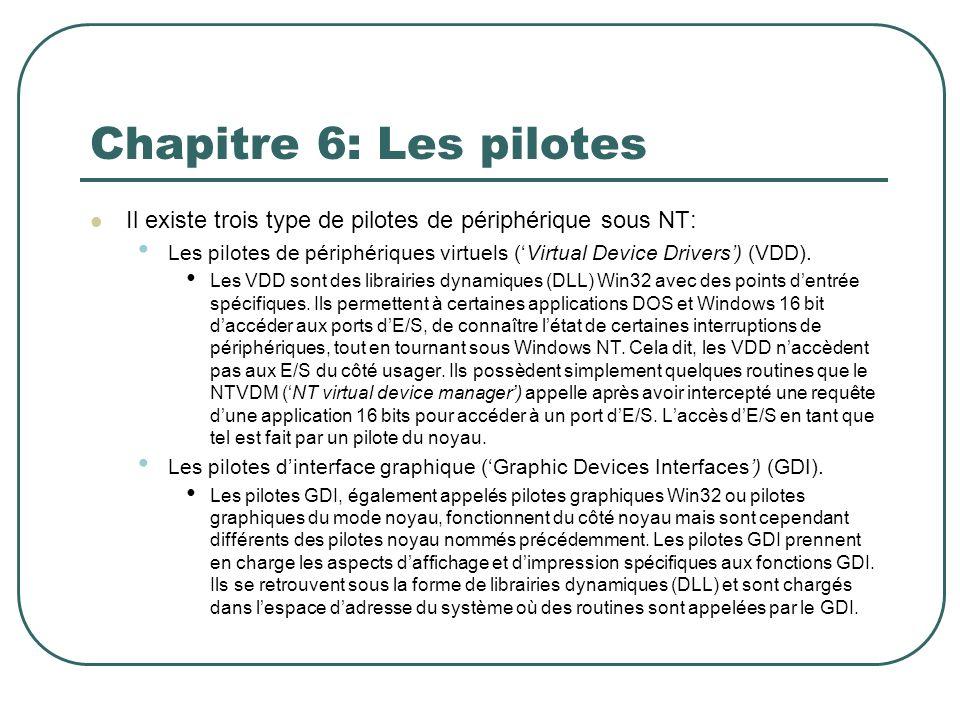 Chapitre 6: Les pilotes Il existe trois type de pilotes de périphérique sous NT: