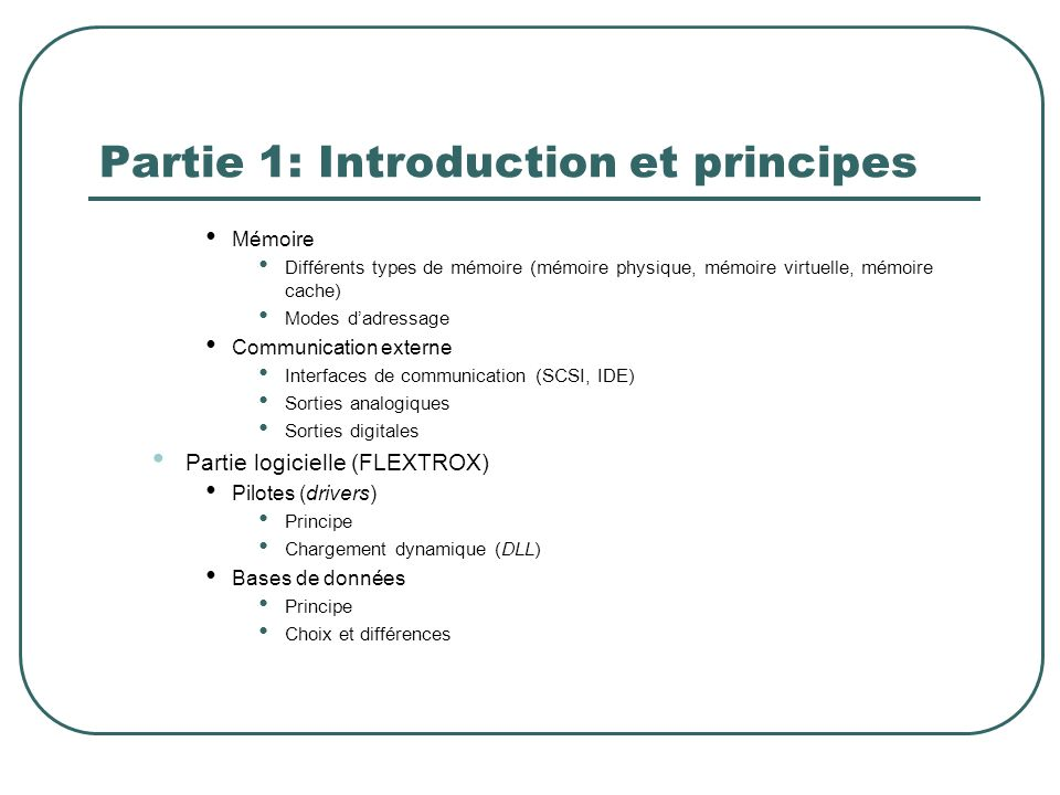 Partie 1: Introduction et principes