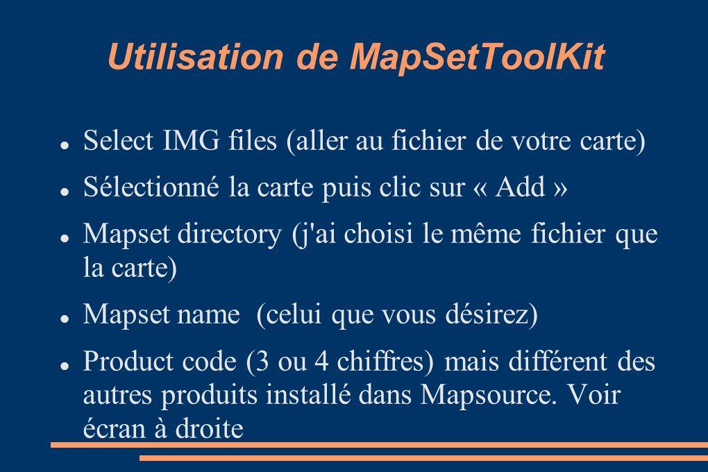 Utilisation de MapSetToolKit