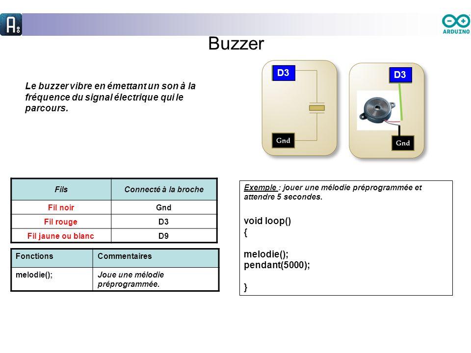 Buzzer D3. D3. Le buzzer vibre en émettant un son à la fréquence du signal électrique qui le parcours.