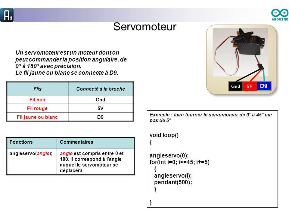 Servomoteur D9. Un servomoteur est un moteur dont on peut commander la position angulaire, de 0° à 180° avec précision.