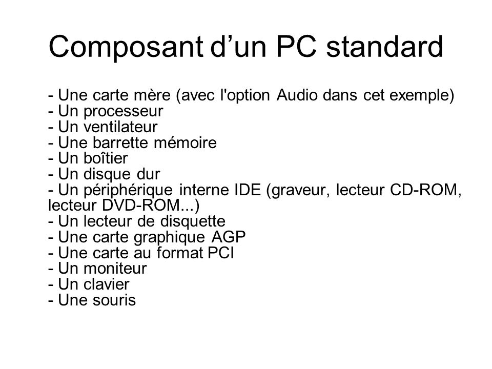 Composant d'un PC standard