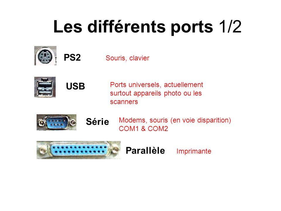 Les différents ports 1/2 PS2 USB Série Parallèle Souris, clavier