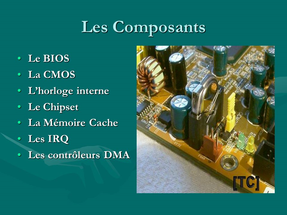 Les Composants Le BIOS La CMOS L'horloge interne Le Chipset