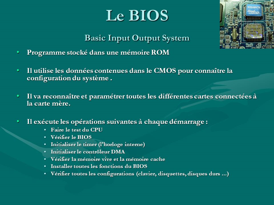 Le BIOS Basic Input Output System