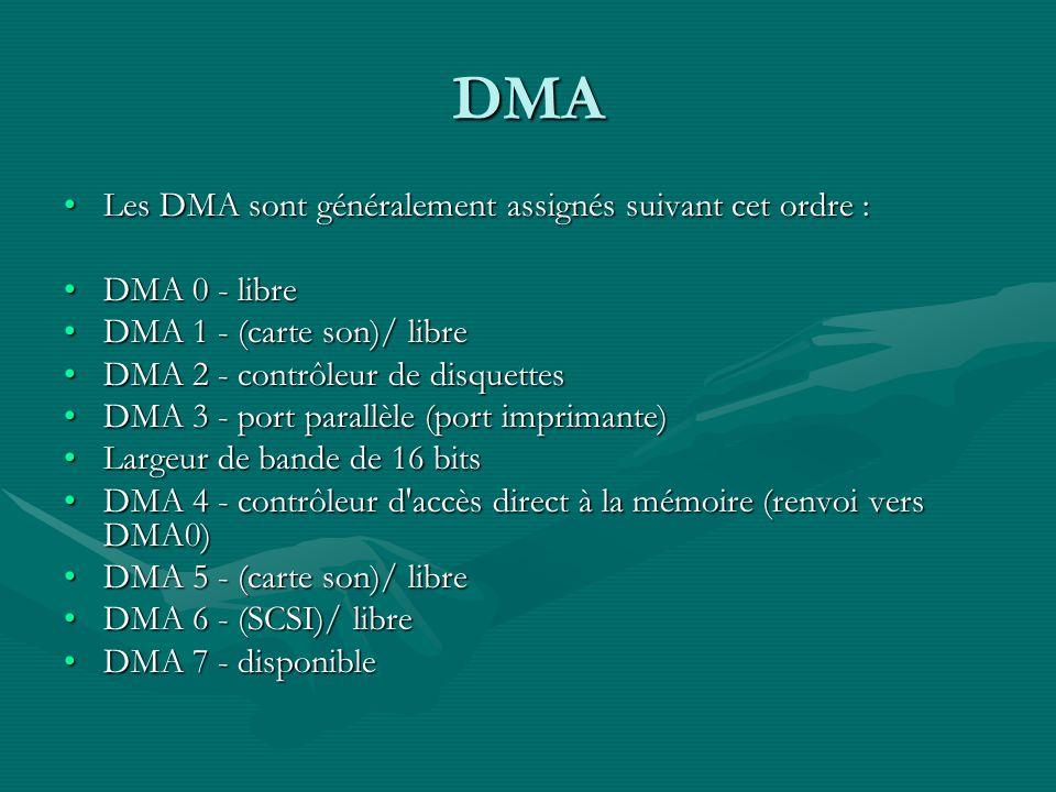 DMA Les DMA sont généralement assignés suivant cet ordre :