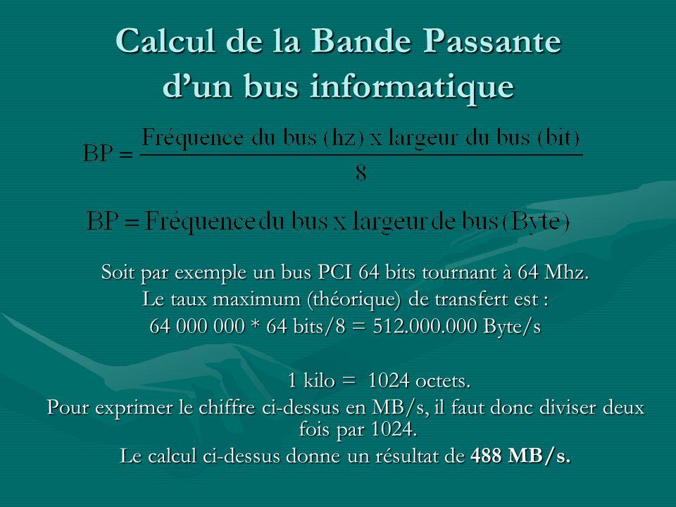 Calcul de la Bande Passante d'un bus informatique