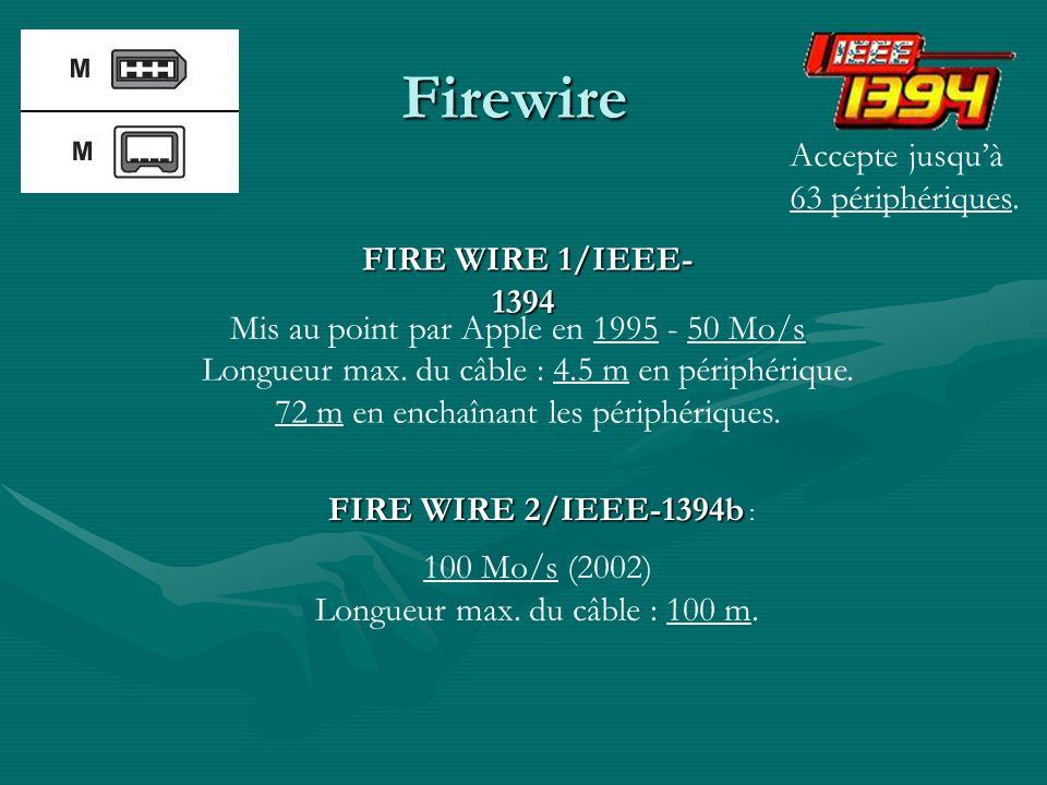 Firewire Accepte jusqu'à 63 périphériques. FIRE WIRE 1/IEEE-1394