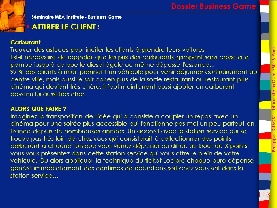 Dossier Business Game ATTIRER LE CLIENT : Carburant