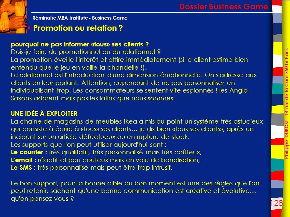 Dossier Business Game Promotion ou relation